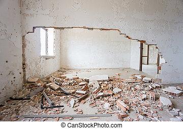 house., elhagyatott, romos