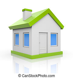 house., elszigetelt, white