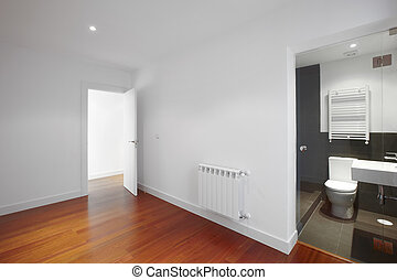 House empty room with bathroom entrance