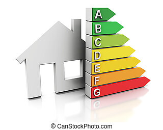 house energy efficiency - 3d illustration of house with...