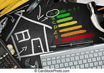 House Energy Efficiency Rating - Chalk drawing and work tools