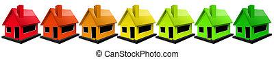 House Energy Efficiency Rating - Multi-colored residential buildings