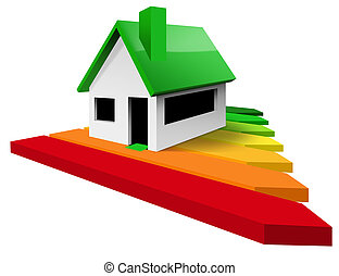 House Energy Efficiency Rating - Residential building with performance chart