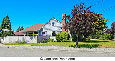 House exterior with brick chimney. Front yard view