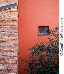 House facade brick wall window