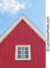 house, facade, red, sky,