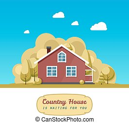 House facade. Traditional cottage. Vector illustration. -...