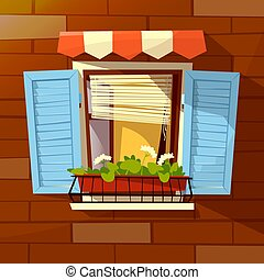 House facade vector cartoon illustration of old apartments...