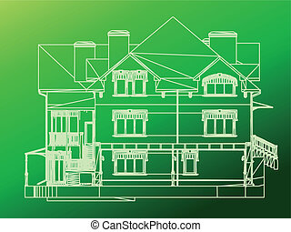 House facade. Vector green illustration