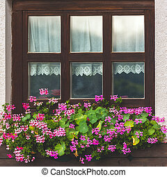 House facade with window and flowers in Alps