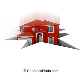 House Falling Into Hole - A red house falls into a hole,...