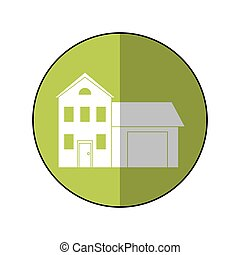 house family residential green circle shadow