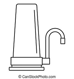 House filter tap icon, outline style