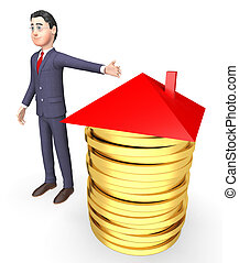 House Finance Shows Home Finances And Accounting 3d Rendering