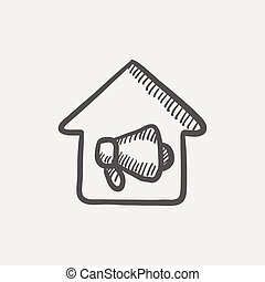 House fire alarm sketch icon