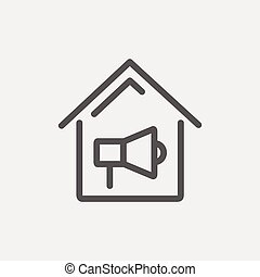 House fire alarm thin line icon