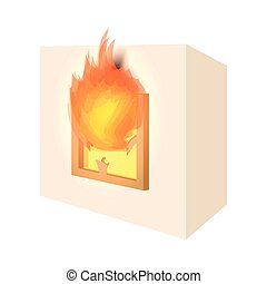 House fire cartoon icon