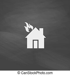 house fire computer symbol