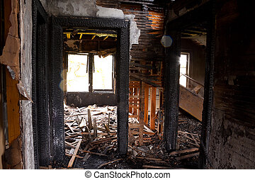 Detail images from a home that was abandoned after a large housefire.