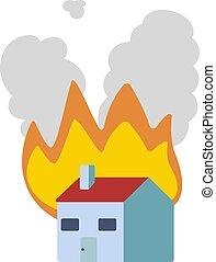 House fire flat illustration design