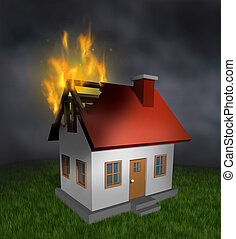 House fire and burning home insurance symbol with a burnt damaged residential structure that shows the destruction in flames and the importance of smoke alarm and security systems.