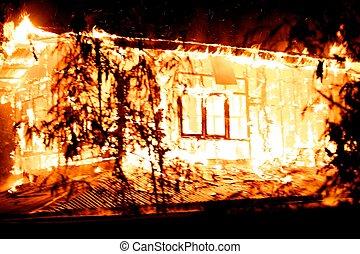 House fire.