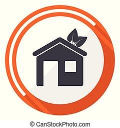 House flat design vector web icon. Round orange internet button isolated on white background.