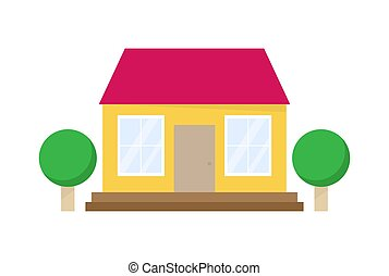 House flat icon with trees