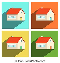 House Flat Icons Set Isolated on white Background