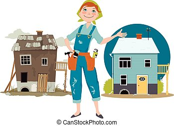 Happy cartoon woman in overalls with tools standing in front of a house shown before and after renovation, EPS 8 vector illustration, no transparencies