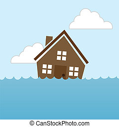 House Flood - House floating in water flood