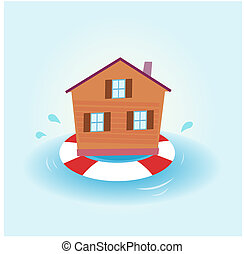 House flood - staying afloat - Illustration of house staying...