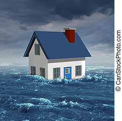 House Flood - House flood insurance concept with a generic...