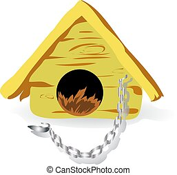 House for a dog, with chain, cartoon on white background,