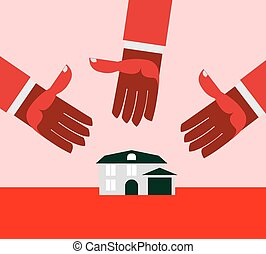 House for debt. Red hands.