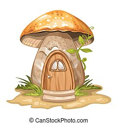 House for gnome made from mushroom