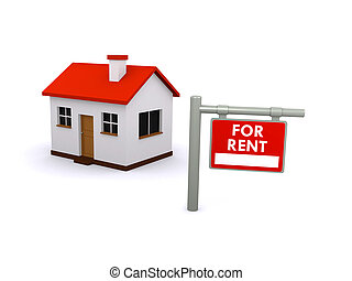3d render of a house and for rent sign
