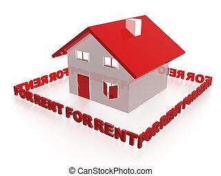 House for rent concept. 3d illustration.