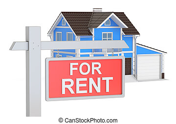 House For Rent concept, 3D rendering