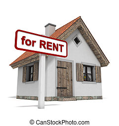 """House for RENT - House with a """"for RENT"""" sign, isolated on..."""