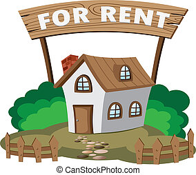Illustration of house for rent. Concept of city lifestyle.