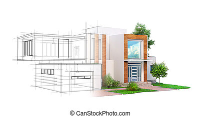 House for rent or sale. Modern house on a white background. ...