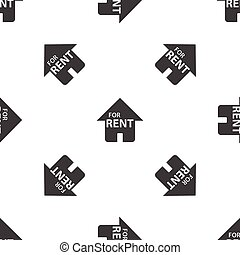 Image of house with text FOR RENT, repeated on white background