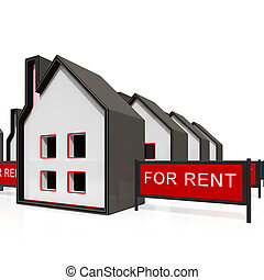 House For Rent Sign Shows Housing Rental