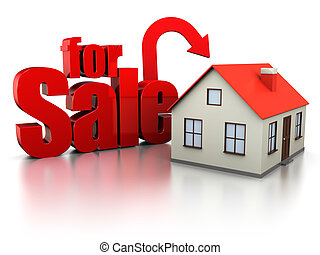 house for sale - 3d illustration of house with sign 'for...
