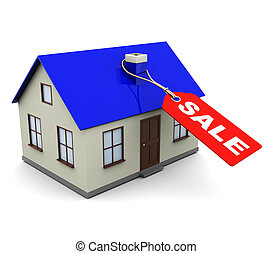 house for sale - 3d illustration of house with tag and sign...