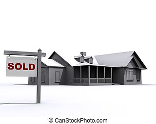 house for sale - 3d rendered illustration of a simple house ...