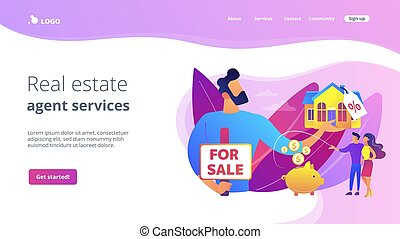 House for sale concept landing page.