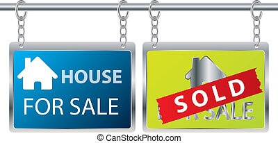 House for sale - House sale advertisement hanging on chains