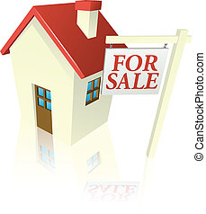 House for sale graphic - Illustration of a house for sale...